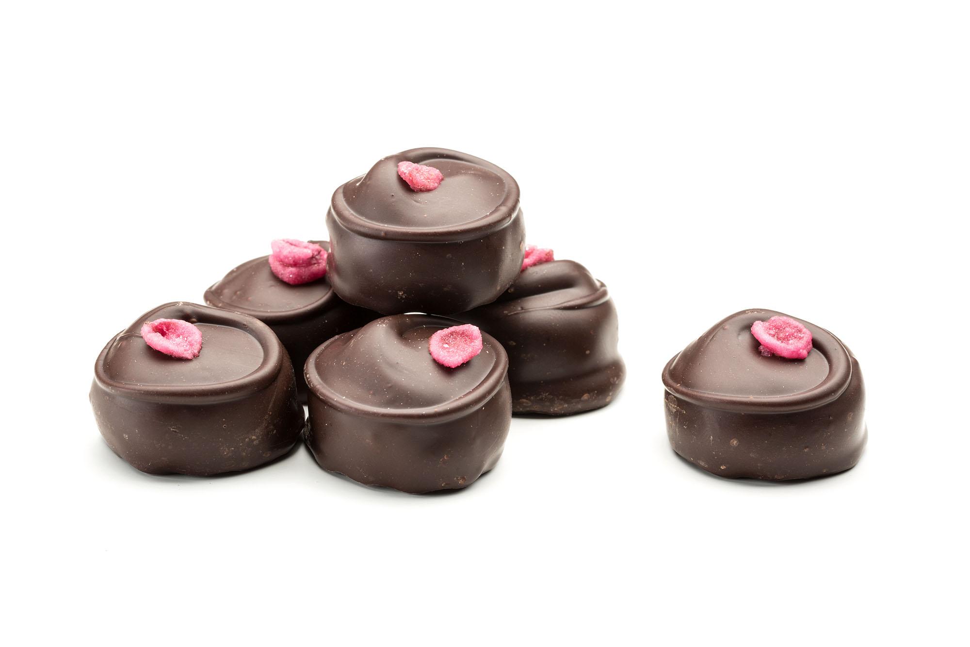 hand made rose creams in dark chocolate