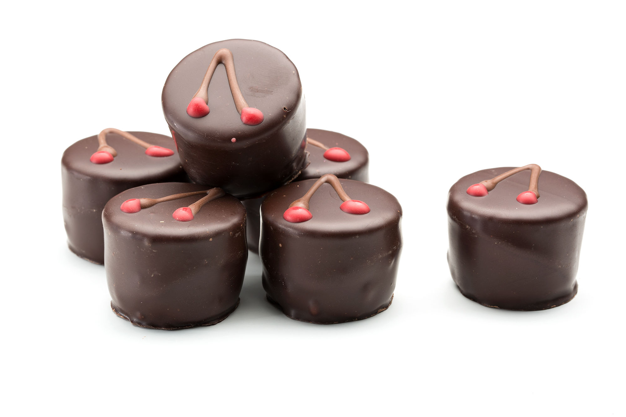 Cherry ganache chocolate with whole cherry centre