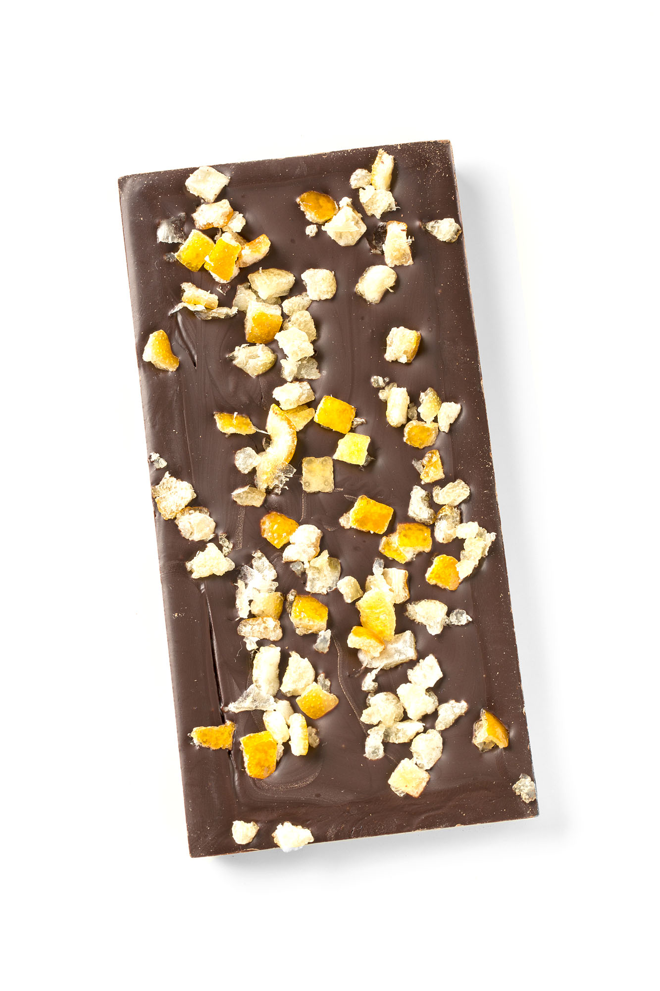 dark chocolate bar with orange and ginger