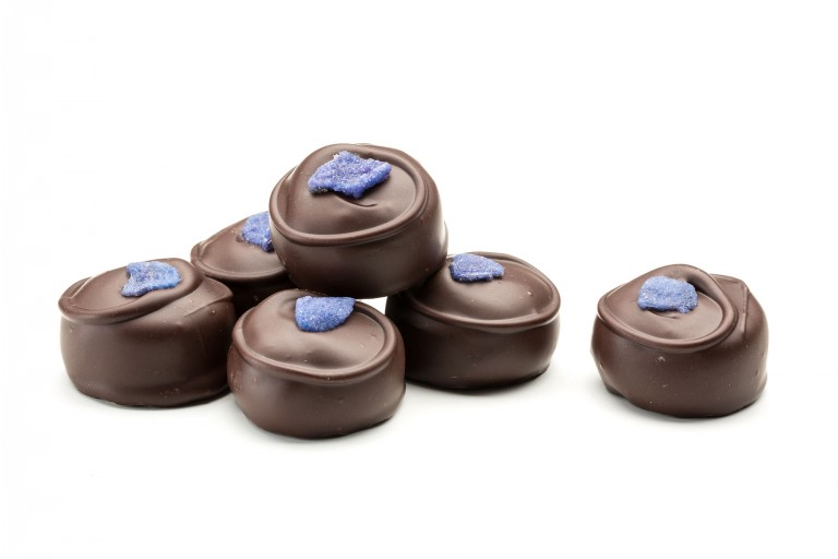 Handmade Violet Creams in dark chocolate