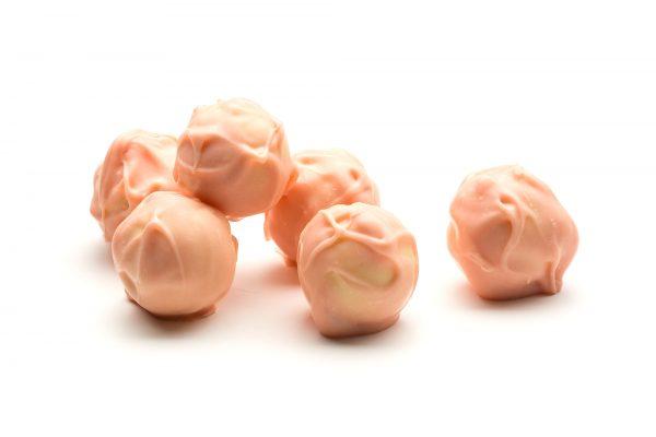 six handmade prosecco ruffles in white chocolate