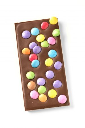 milk chocolate bar with chocolate buttons