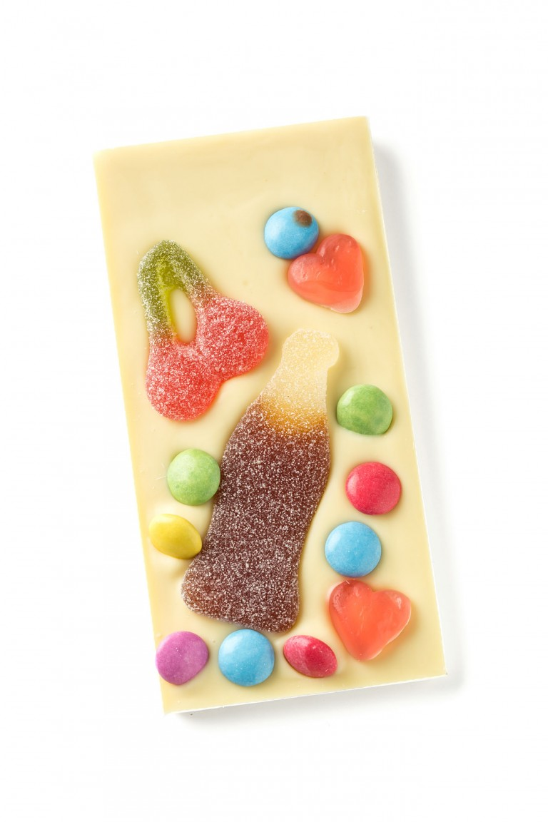 white chocolate bar with sweets