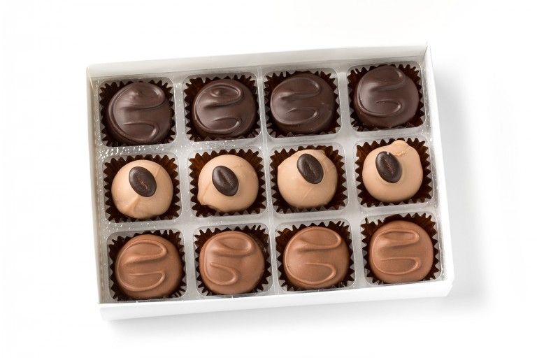 coffee creams in milk and dark chocolate and cappuccino truffles