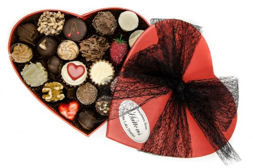 red heart box of luxury chocolates