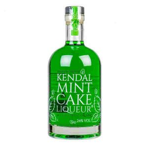 Glass bottle of Kendal mint cake flavoured liqueur. Locally produced in Kendal by Penningtons Drink Company