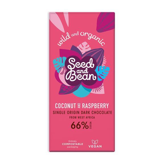 Dark chocolate coconut and raspberry vegan bar