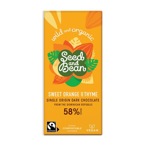 Sweet orange and thyme dark chocolate bar suitable for vegans