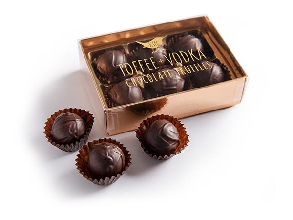 six handmade kin toffee vodka truffles presented in a box